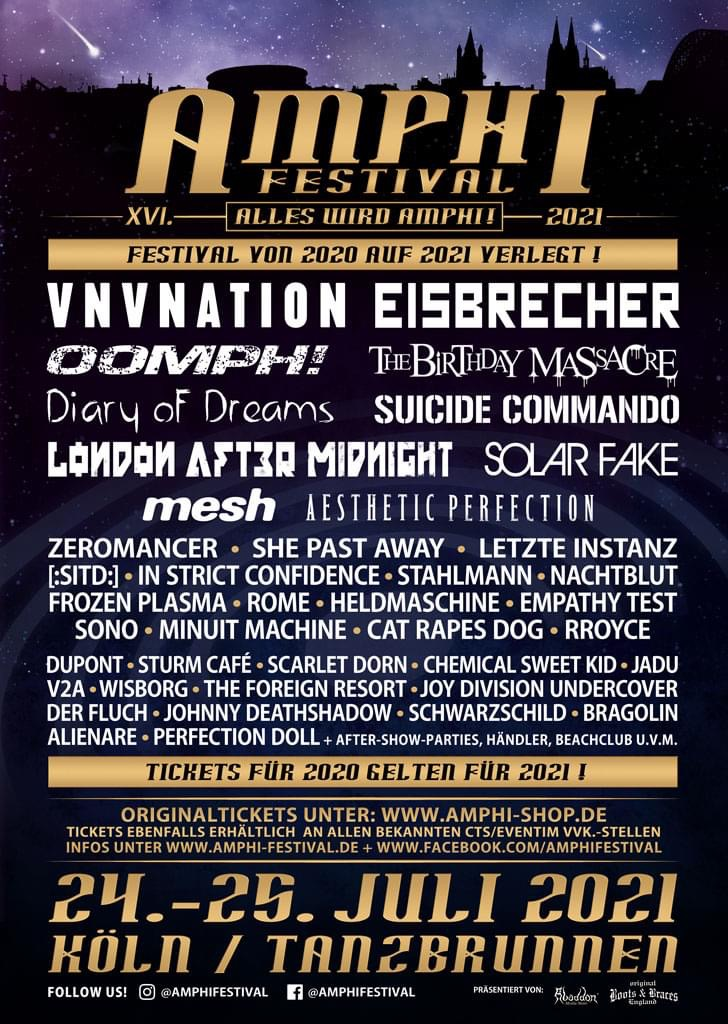 VNV NATION | ZEROMANCER | SONO play the postponed MERA LUNA FESTIVAL 2021!